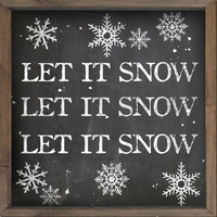 Wooden Let it snow sign framed out in wood that looks like chalkboard. Handmade Christmas signs Winter signs Chalkboard typography signs