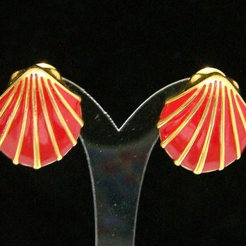 Monet Red Enamel Sea Shell Earrings, Gold Tone Setting, Seashell Jewelry, Hinged Clip On Style, Signed, Vintage Costume Jewellery 817
