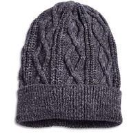 Lucky Brand Alameda Cable Knit Beanie Mens - Charcoal (One Size)