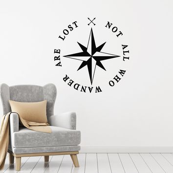 Vinyl Wall Decal Nautical Compass Rose Inspiration Quote Motivating Phrase Stickers Mural (ig5354)