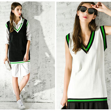 women sweater vest in black,white,oversize,long length,V neck,preppy style,unique,fashion,chic,sporty.--E0232