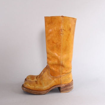 70s FRYE Campus BOOTS / Golden Brown Leather Hippie Tall Riding Boots 6 1/2