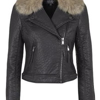 TALL Faux Fur Collar Jacket - Black