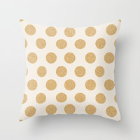 Glittering Gold Dots Throw Pillow by Allyson Johnson