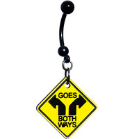 Yellow Goes Both Ways Warning Sign Belly Ring | Body Candy Body Jewelry