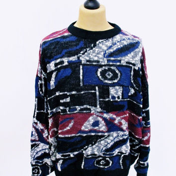 Vintage 80s Geometric Psychedelic Pattern Jumper Sweater 4XL