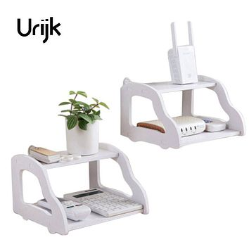 Urijk White TV Set Top Shelf Router Set-top Box Telephone Storage Rack Wall Shelf Storage Holders Living Room Home Storage