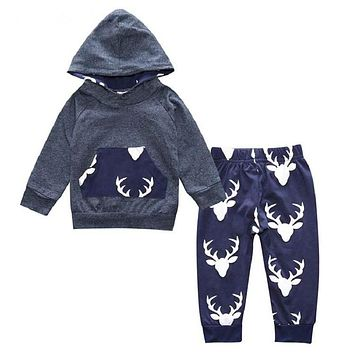 Baby Boys Girls Clothes Set Suits Warm Deer Tops Hoodie T-shirt + Leggings Pants Cute Animals Kids Children's Clothing