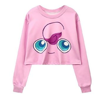 Jigglypuff 3-D Pokemon Printed Women's Crop Top Sweatshirts ONE SIZE