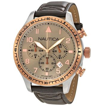 Nautica Tan Dial Mens Chronograph Leather Watch A17656GS