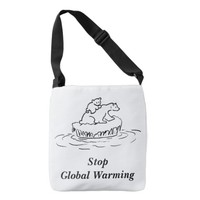 Polar Bear Melting Ice Cap Stop Global Warming Crossbody Bag