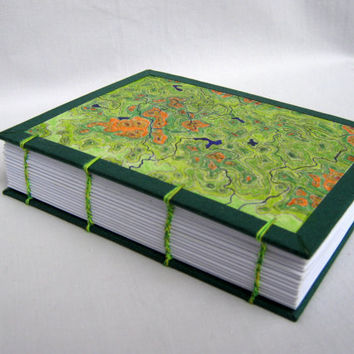 ExiArts travel journal with coptic stitch binding,One of a kind Geographical Map hardcover art journal,HAND-DRAWN COVER,320 blank pages