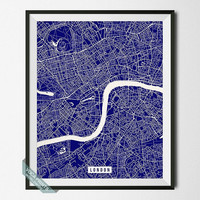 London Print, England Poster, London Street Map, England Map Print, United Kingdom, Home Wall Art, Office Decor, Back To School