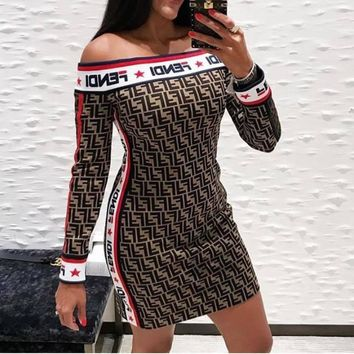 FENDI New Trending Women Stylish Double F Print Knit Long Sleeve Off Shoulder Dress