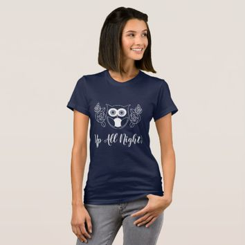 Up All Night? Retro Owl and Roses Cute Funny T-Shirt