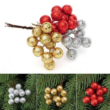 10pcs/Lot Christmas Tree Hanging Baubles Fruit Ball Party Home Decoration Ornament Foam Gold Silver Red Cuttings Fruit Ball S35