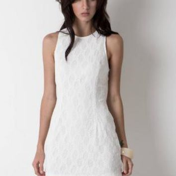White Sleeveless Lace Dress with High Neckline&Racerback