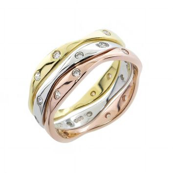 Rose, Yellow & Silver Solid Sterling silver Stackable Wedding Bands! All Sizes!