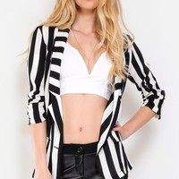 Striped Chiffon Cardigan Blazer | MakeMeChic.com