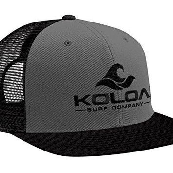Koloa Surf(tm) Mesh Back Wave Logo Trucker Hat Black/Grey with Black Logo