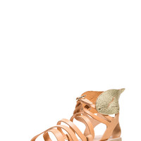 Ancient Greek Sandals | Nephele Calfskin Leather Sandals in Natural & Gold www.FORWARDbyelysewalker.com