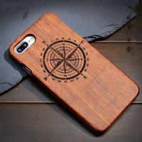 Real Wood Compass Carved Case for All iPhone and Samsung Phones