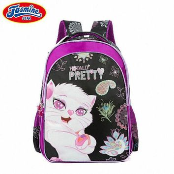 CREYCI7 JASMINESTAR Children School Bags Cartoon Cat Backpack Waterproof Student Grade 1-3-5 Kids Primary School Bags