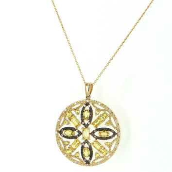 Vintage 14 Karat Yellow Gold Diamond Yellow Topaz Round Disc Pendant Necklace