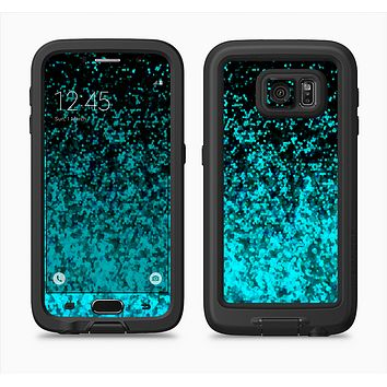 The Black and Turquoise Unfocused Sparkle Print Full Body Samsung Galaxy S6 LifeProof Fre Case Skin Kit