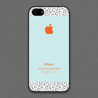 iPhone 4 / 4s Case - Leopard pattern on Tiffany Teal and orange color | iPhone4 Case, iPhone4s Case, Cases for iPhone4s
