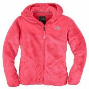 The North Face Oso Hooded Fleece Jacket - Girls' Metallic Silver/Razzle Pink, XL