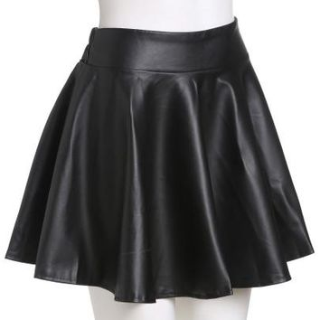Faux leather skater pleated mini skirt