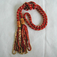 Glittering Gold and Red Spiral Rope Bead & Tassel Lariat~Lariat Necklace~Red and Gold Necklace~Christmas Necklace~Long Beaded Necklace