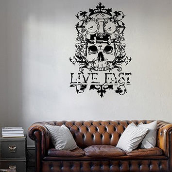 kik279 Wall Decal Sticker Room Decor Wall skull speed speedometer motorcycle living room bedroom biker club