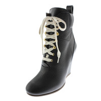 Chloe Womens Grained Leather Lace-Up Ankle Boots