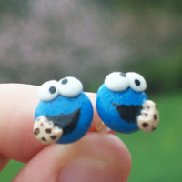 Cookie Monster Stud Earrings