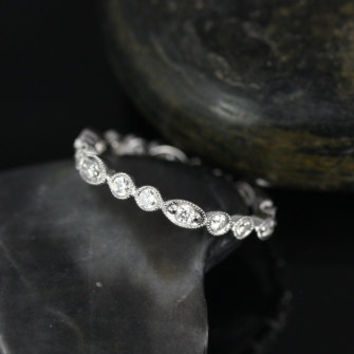 Olivia 14kt White Gold  Double Bubble & Oval WITH Milgrain Diamond FULL Eternity Band (Other Metals Options Available)