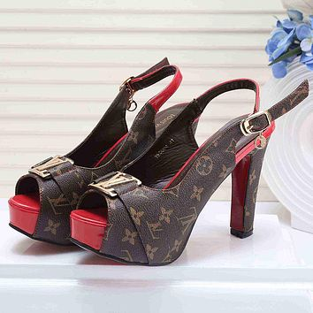Louis Vuitton Women Fashion Casual Heels Shoes