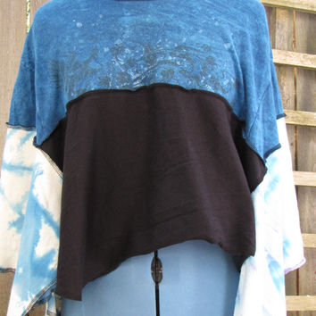 Upcycled Tie Dye Cropped Hippie Poncho Cover Up/Eco Collar Shawl Shibori Asymmetrical Cropped Capelet One Size