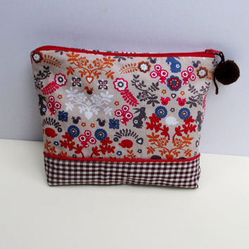 Handmade pattern fabric pouch with  red zipper close, clutch,Cosmetic case, Pencil case, ooak, makeup bag,travel pouch