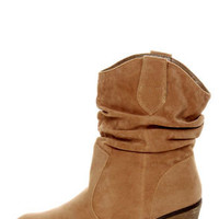 Diva Lounge Miles 03 Tan Velvet Slouchy Ankle Boots
