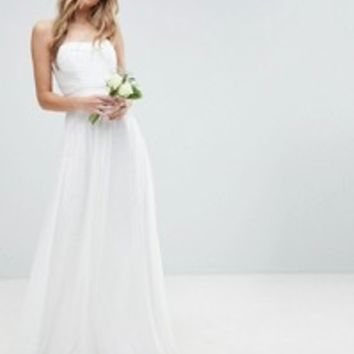 ASOS EDITION Wedding Pintuck Bodice Bandeau Maxi Dress With Tulle Skirt and Detachable Straps at asos.com