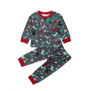 Toddler Kids Baby Girl Boy Christmas Dinosaur Tops Pants Leggings Outfit Pajamas  baby kids girl boy xmas casual clothing set