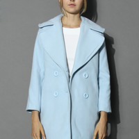 Pastel Blue Double-breasted Wool Coat Blue
