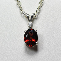 Natural 2.3 ct Garnet and Sapphire Sterling Silver Necklace / Pendant FREE CHAIN - January Birthstone
