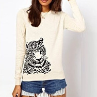 White Tiger Head Print Sweater