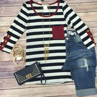 Triple Button 3/4 Sleeve Top
