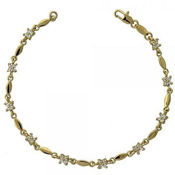 Gold Layered 5.030.010 Fancy Bracelet, Flower and Leaf Design, with White Cubic Zirconia, Polished Finish, Gold Tone