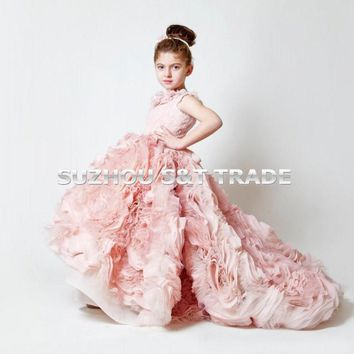 Princess Blush Pink Flower Girl Dress for Weddings 2016 Pretty Lace flowers Scoop Tulle Pleat Sweep Train Pageant Glitz Dresses