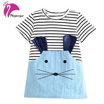 New 2017 Striped Patchwork Character Girl Dresses Sleeve Cute Mouse Children Clothing Kids Girls Dress Denim Kids Clothes
